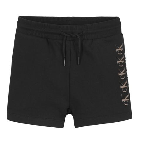 Textiel Meisjes Korte broeken / Bermuda's Calvin Klein Jeans CK REPEAT FOIL KNIT SHORTS Zwart