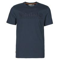 Textiel Heren T-shirts korte mouwen Timberland SS OUTDOOR HERITAGE LINEAR LOGO TEE REGULAR Marine