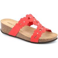 Schoenen Dames Leren slippers Grunland CB2491 Rood