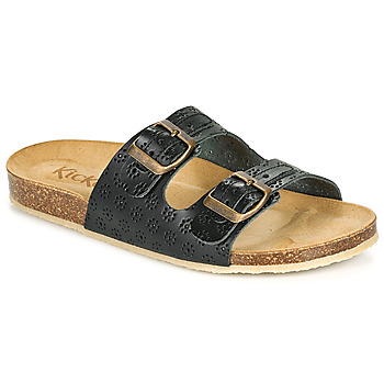 Schoenen Dames Leren slippers Kickers ECOLOG Zwart