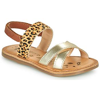 Schoenen Meisjes Sandalen / Open schoenen Kickers DYACROSS Goud / Leopard