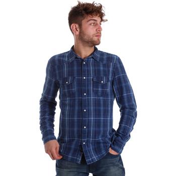Textiel Heren Overhemden lange mouwen Gaudi 721BU46005 Blauw