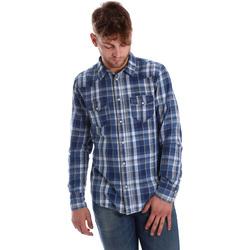 Textiel Heren Overhemden lange mouwen Gaudi 721BU46008 Blauw