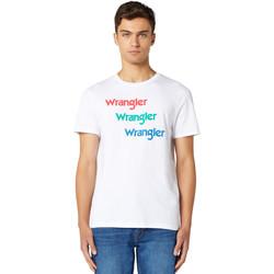 Textiel Heren T-shirts korte mouwen Wrangler W7D7D3989 Blanc