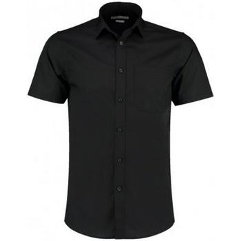 Textiel Heren Overhemden korte mouwen Kustom Kit KK141 Zwart