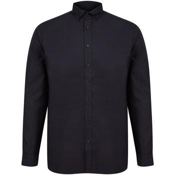 Textiel Heren Overhemden lange mouwen Henbury H512C Zwart