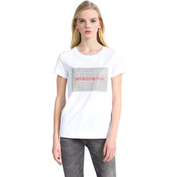 Textiel Dames T-shirts korte mouwen Calvin Klein Jeans J20J207974 Wit