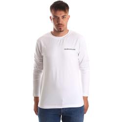 Textiel Heren T-shirts met lange mouwen Calvin Klein Jeans J30J310489 Wit