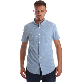Textiel Heren Overhemden korte mouwen Wrangler W59446 Bleu