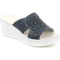 Schoenen Dames Leren slippers Grunland CI1561 Blauw
