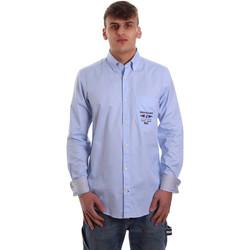 Textiel Heren Overhemden lange mouwen Navigare NV91061 BD Blauw
