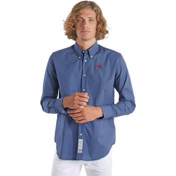 Textiel Heren Overhemden lange mouwen La Martina OMC015 PP461 Bleu