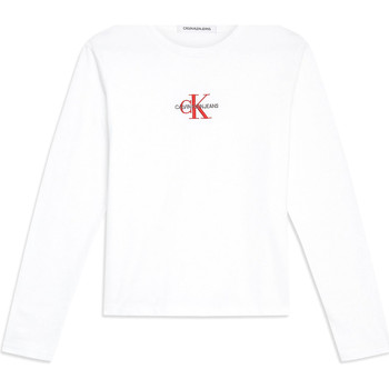 Textiel Dames T-shirts met lange mouwen Calvin Klein Jeans J20J211804 Wit