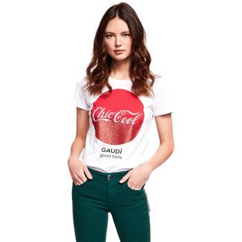 Textiel Dames T-shirts korte mouwen Gaudi 921BD64047 Wit