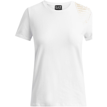 Textiel Dames T-shirts korte mouwen Ea7 Emporio Armani 6GTT07 TJ12Z Wit