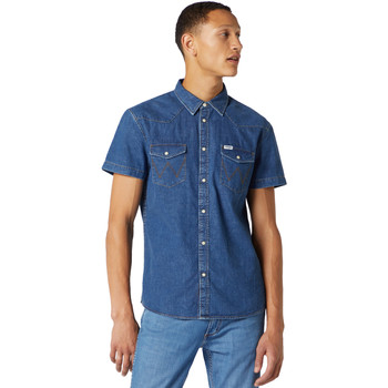 Textiel Heren Overhemden korte mouwen Wrangler W5J05D50B Blauw