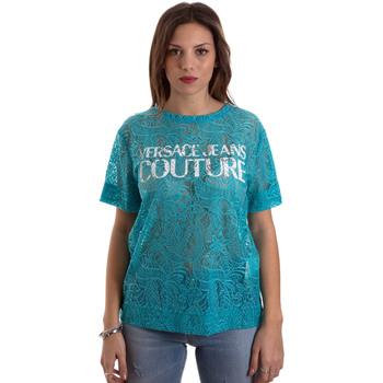 Textiel Dames T-shirts korte mouwen Versace B2HVB70804748207 Blauw