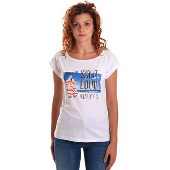 Textiel Dames T-shirts korte mouwen Key Up 5D72S 0001 Wit