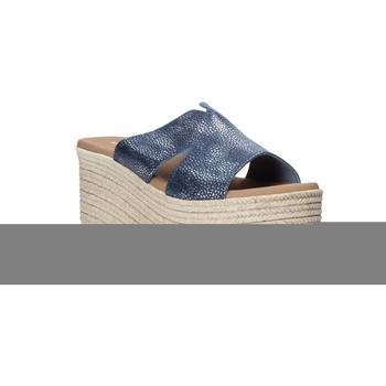 Schoenen Dames Leren slippers Valleverde 34270 Bleu