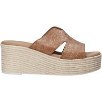 Schoenen Dames Leren slippers Valleverde 34270 Marron