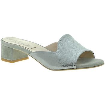 Schoenen Dames Leren slippers Mally 6195 Zilver