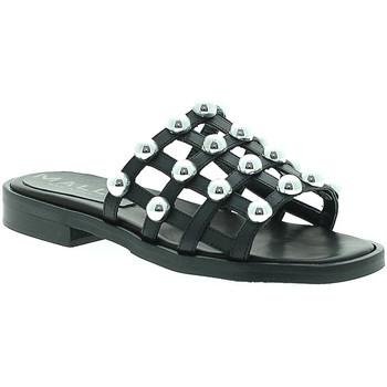 Schoenen Dames Leren slippers Mally 6141 Zwart