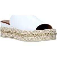 Schoenen Dames Leren slippers Bueno Shoes Q5905 Wit