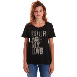 Textiel Dames T-shirts korte mouwen Key Up 5Z19S 0001 Zwart