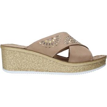 Schoenen Dames Leren slippers Grunland CI1771 Beige