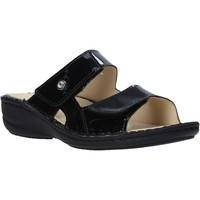 Schoenen Dames Leren slippers Grunland CE0446 Zwart