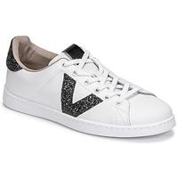 Schoenen Dames Lage sneakers Victoria TENIS PIEL GLITTER Wit / Zwart