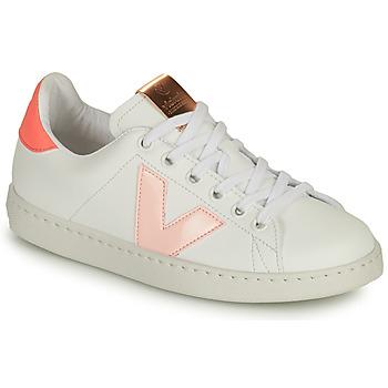 Schoenen Meisjes Lage sneakers Victoria TENIS VEGANA CONTRASTE Wit / Roze