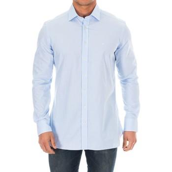 Textiel Heren Overhemden lange mouwen Hackett Chemise M / Longue Blauw