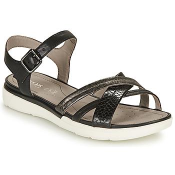 Schoenen Dames Sandalen / Open schoenen Geox D SANDAL HIVER A Zwart / Zilver