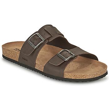 Schoenen Heren Leren slippers Geox U SANDAL GHITA B Brown