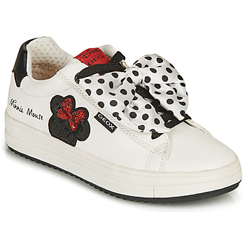 Schoenen Meisjes Lage sneakers Geox REBECCA GIRL Wit / Zwart / Rood