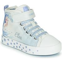 Schoenen Meisjes Hoge sneakers Geox JR CIAK GIRL Wit / Blauw