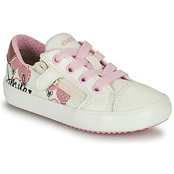 Schoenen Meisjes Lage sneakers Geox GISLI GIRL Wit / Roze