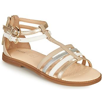 Schoenen Meisjes Sandalen / Open schoenen Geox SANDAL KARLY GIRL Beige / Zilver / Wit