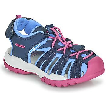 Schoenen Meisjes Outdoorsandalen Geox BOREALIS GIRL Blauw / Roze