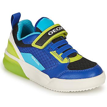 Schoenen Jongens Lage sneakers Geox GRAYJAY BOY Blauw / Lime