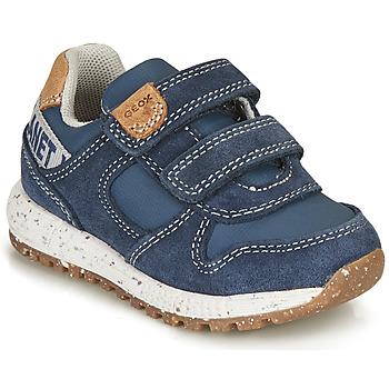 Schoenen Jongens Lage sneakers Geox ALBEN BOY Blauw / Brown