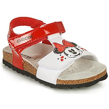 Schoenen Meisjes Sandalen / Open schoenen Geox SANDAL CHALKI GIRL Rood / Wit