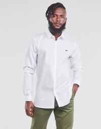 Textiel Heren Overhemden lange mouwen Lacoste PITTA Wit
