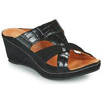 Schoenen Dames Leren slippers Mam'Zelle DINAMO Zwart