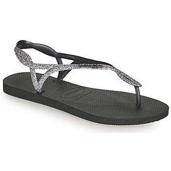 Schoenen Dames Slippers Havaianas LUNA PREMIUM II Zwart / Grijs