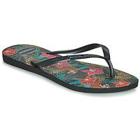 Schoenen Dames Slippers Havaianas SLIM TROPICAL Zwart / Grijs