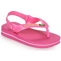 Schoenen Meisjes Slippers Havaianas BABY BRASIL LOGO II Roze