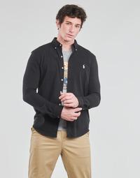 Textiel Heren Overhemden lange mouwen Polo Ralph Lauren CHEMISE AJUSTEE COL BOUTONNE EN POLO FEATHERWEIGHT LOGO PONY PLA Zwart