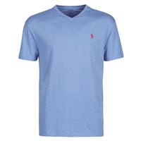 Textiel Heren T-shirts korte mouwen Polo Ralph Lauren T-SHIRT AJUSTE COL V EN COTON LOGO PONY PLAYER Blauw